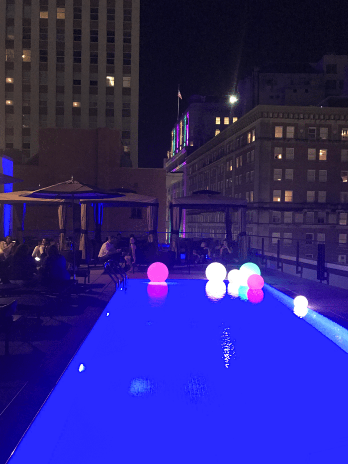 NOPSI pool scene at night