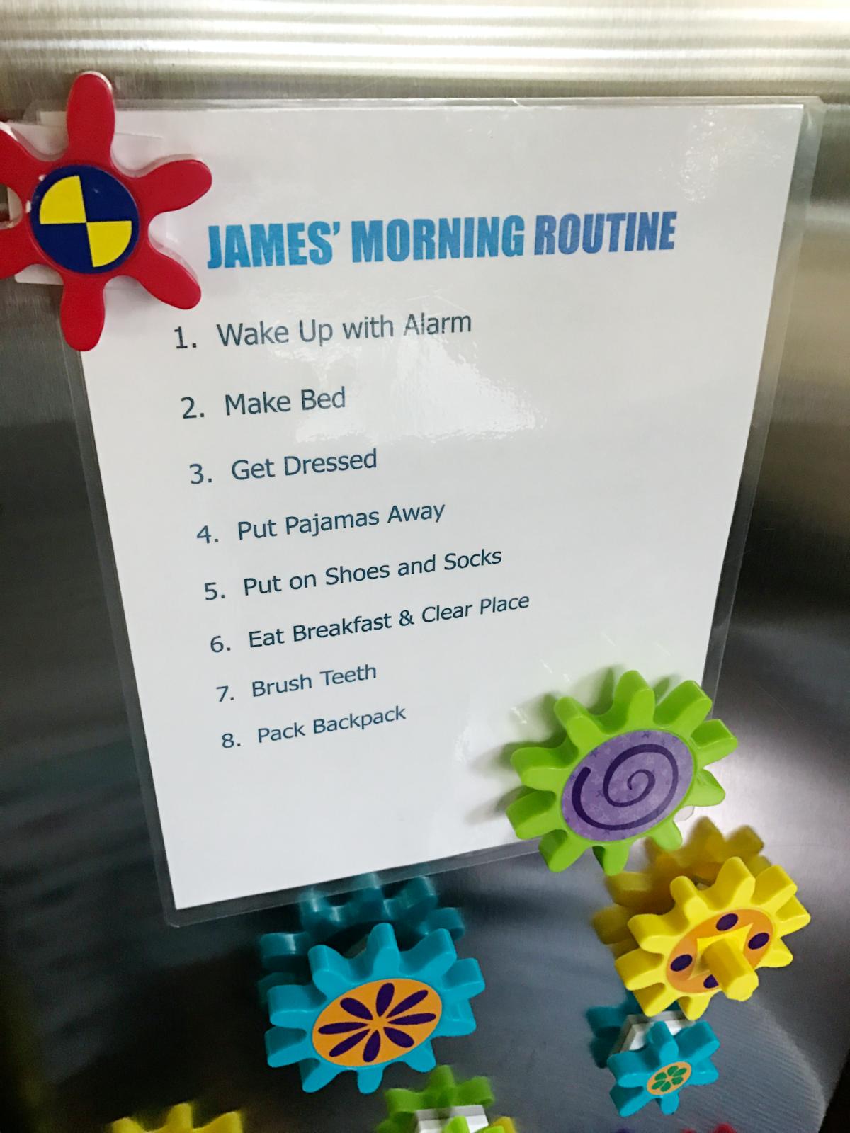 kids morning routine chart