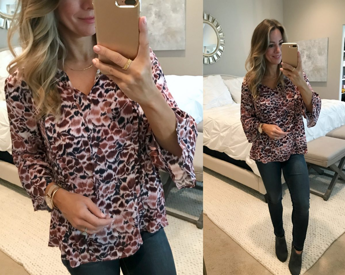peplum patterned top