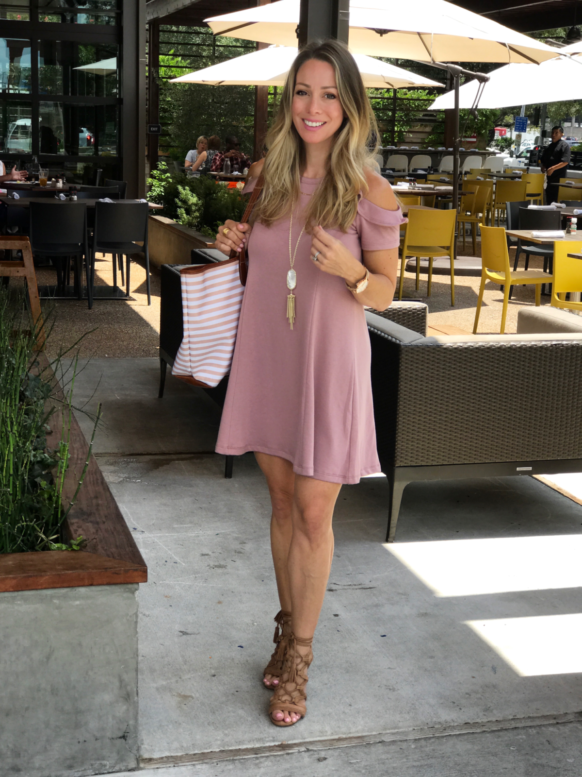 pink cold shoulder dress