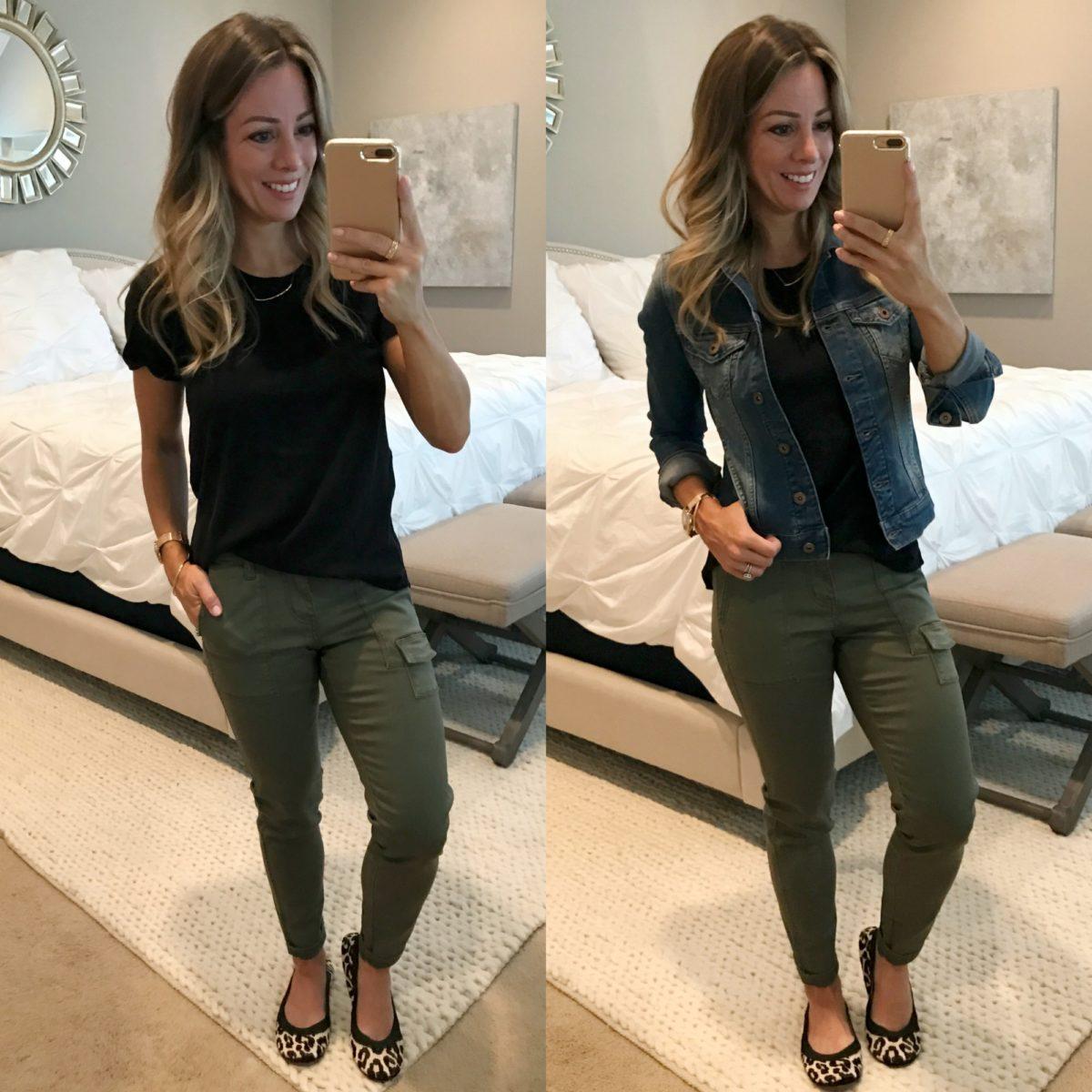 utility pants black tee jean jacket