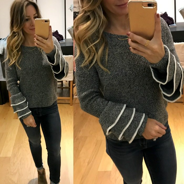 Express ruffle sleeve sweater