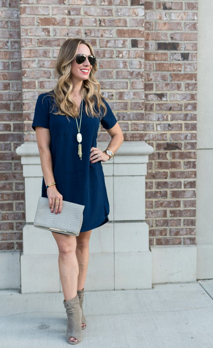 Navy shirt dress under $50.2