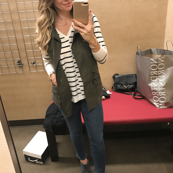 Striped top military jacket