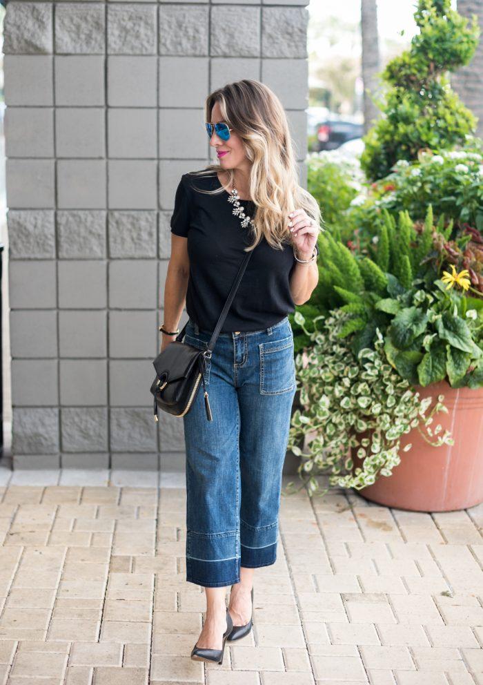 Wide Leg Jeans Black Tee.1