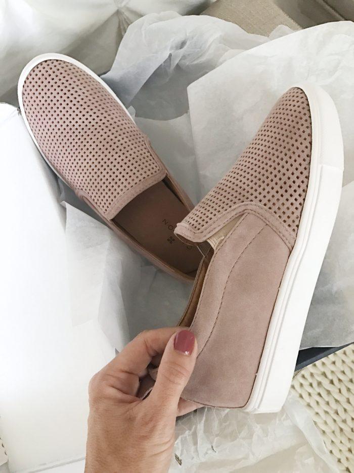 blush pink slip on sneakers