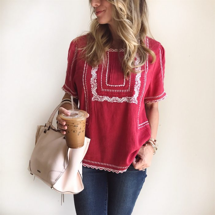 embroidered red top