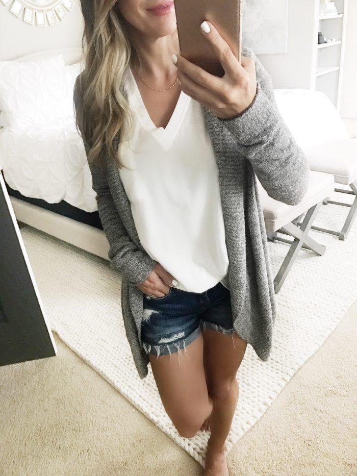 cozi cardigan jean shorts