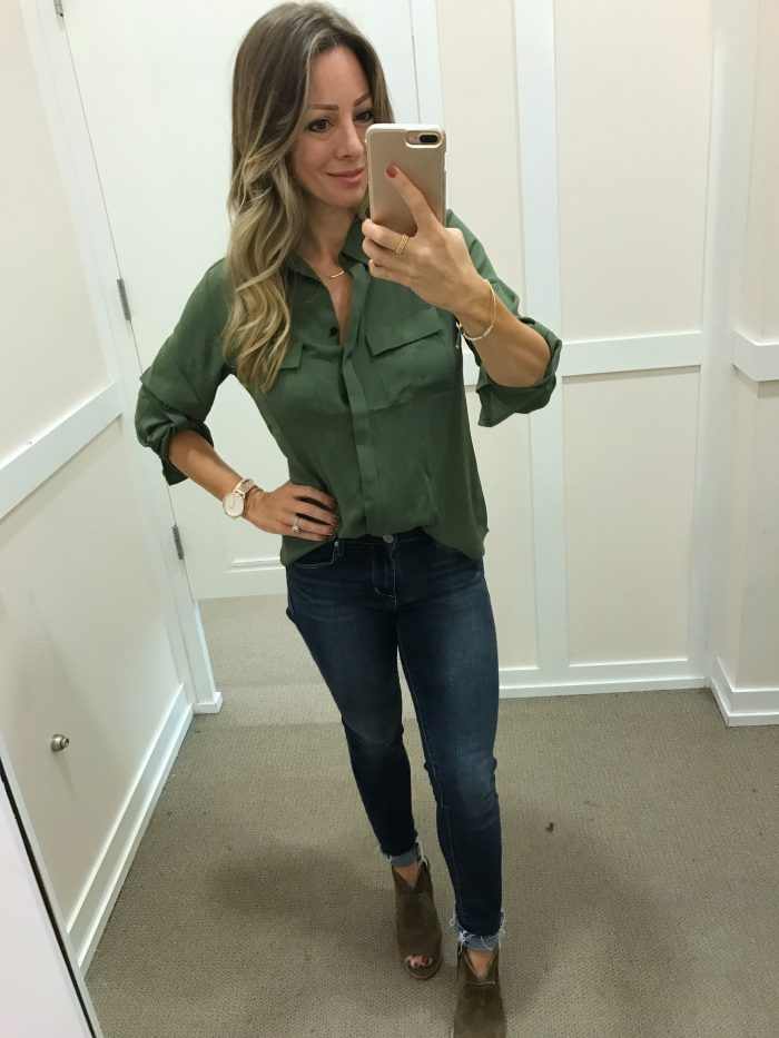 green blouse LOFT