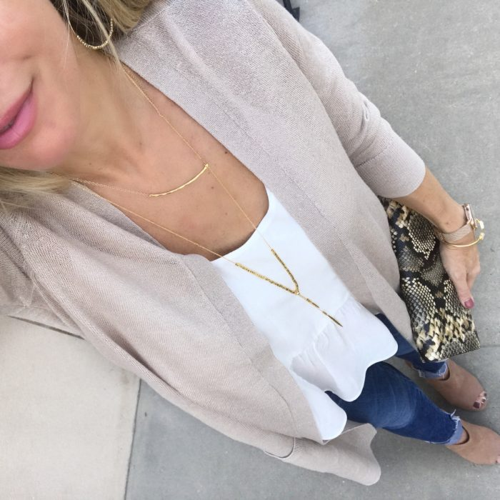 jeans long cardigan white tank
