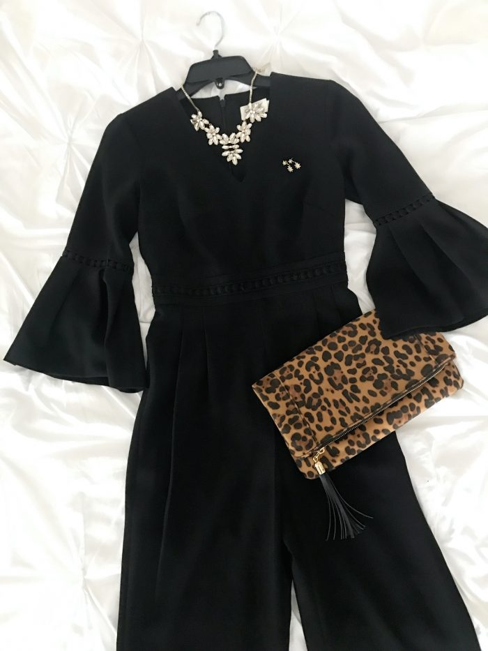 jumpsuit leopard clutch