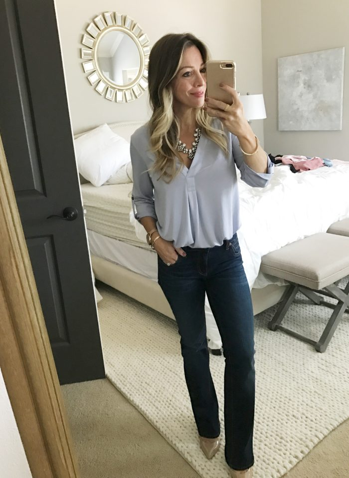 lilac tunic bootleg jeans