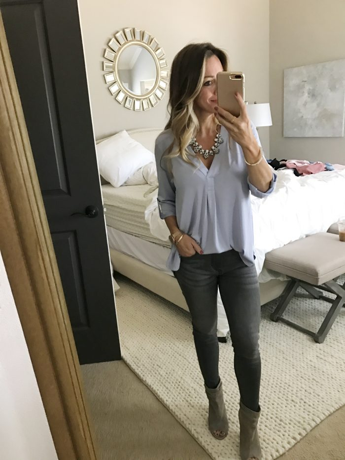 lilac tunic grey jeans