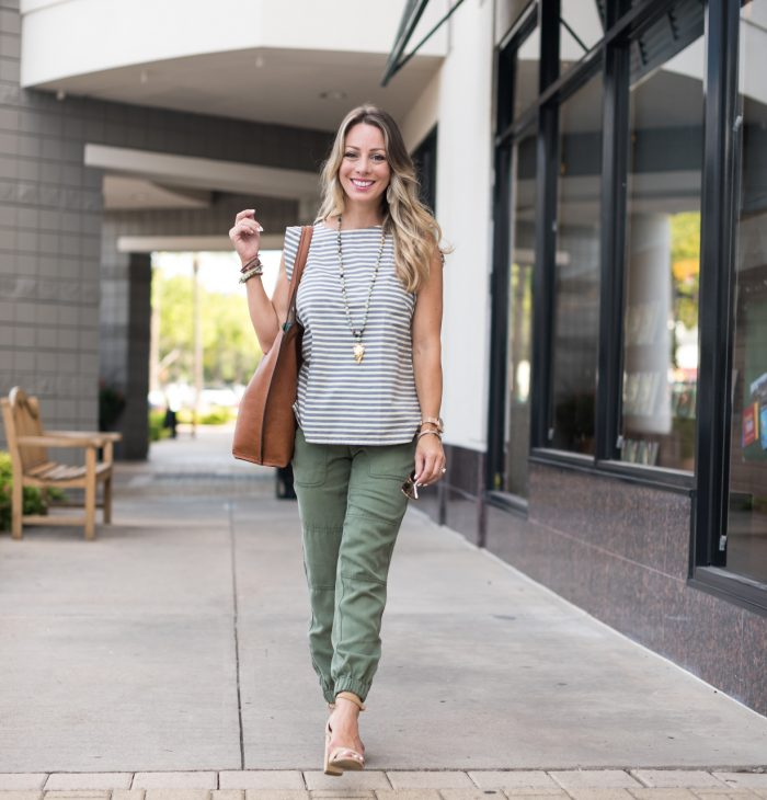 loft joggers and striped top