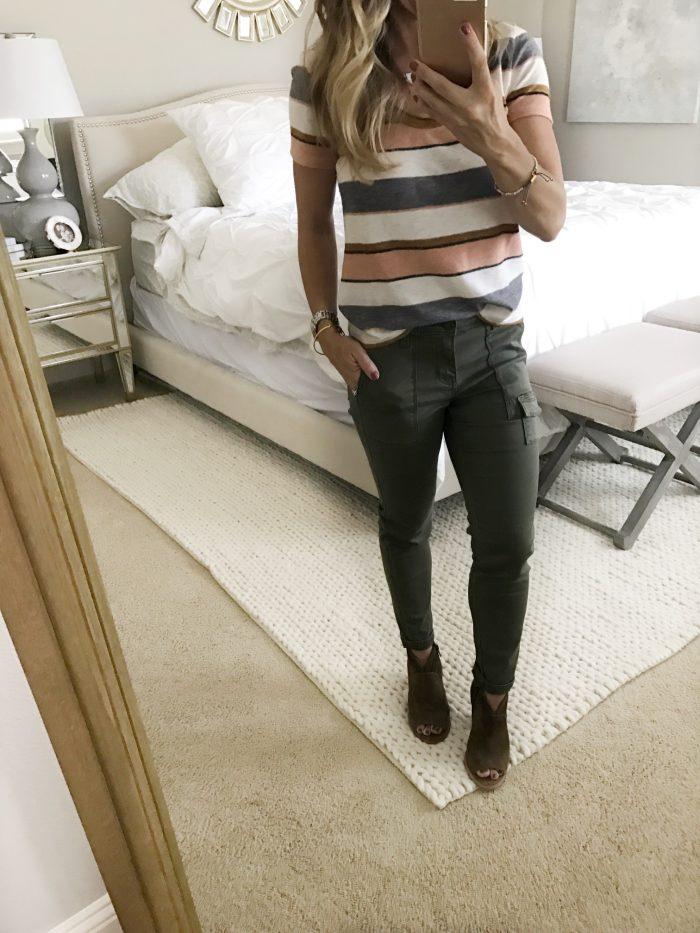 stripe top skinny cargo pants booties