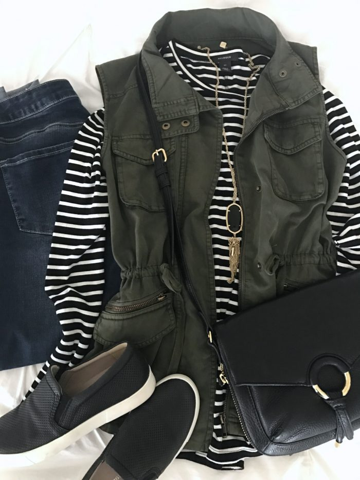 striped top military vest jeans slip on sneakers