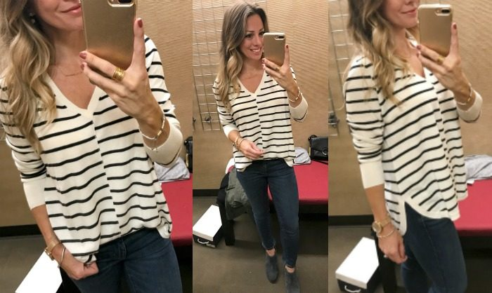 striped vneck sweater