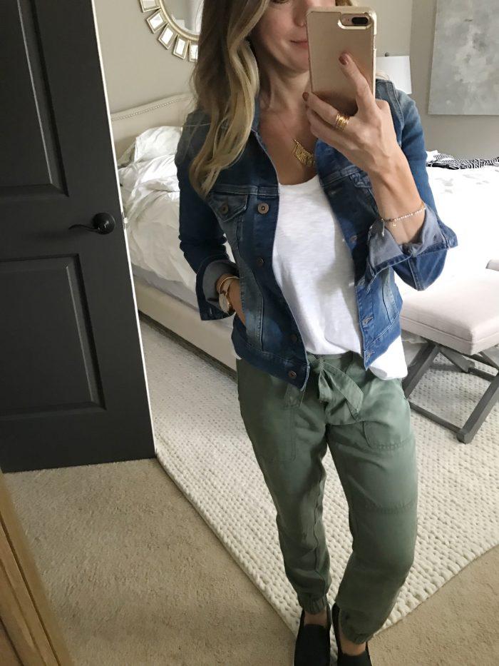 white tee loft joggers jean jacket