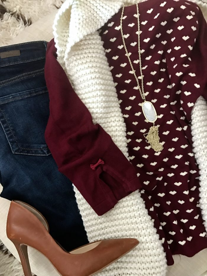 15 Fall Cute & Comfy Fall Outfits, heart sweater bootleg jeans and heels