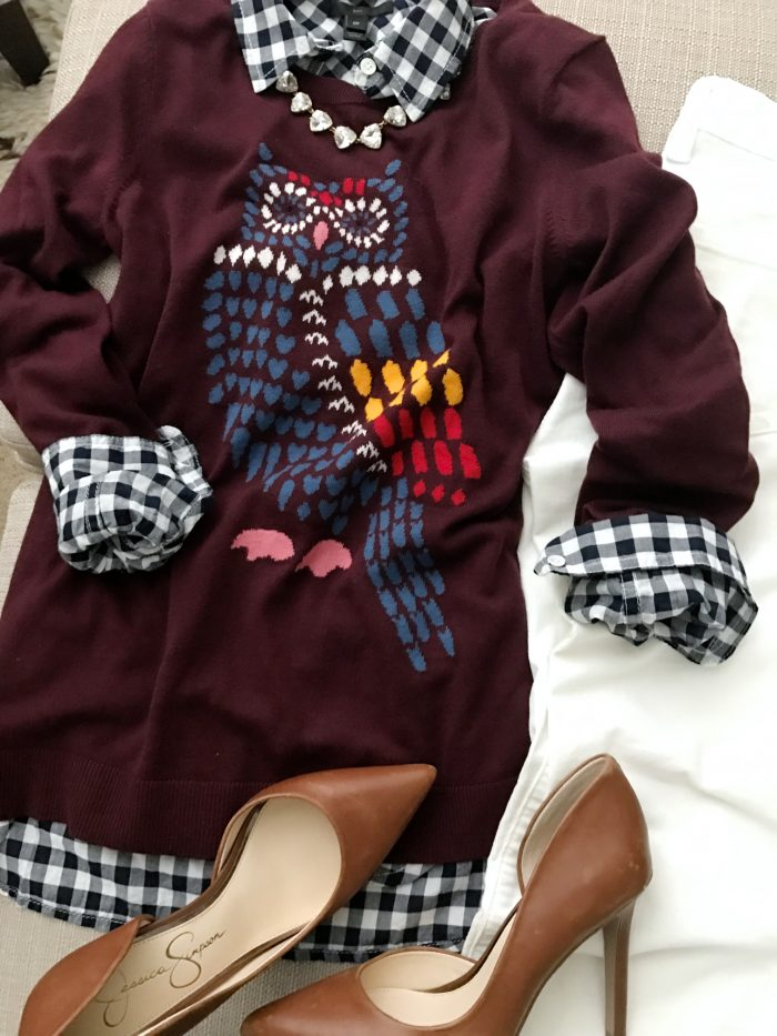 15 Fall Cute & Comfy Fall Outfits- owl sweater with gingham top and cords #fallfashion #falloutfit