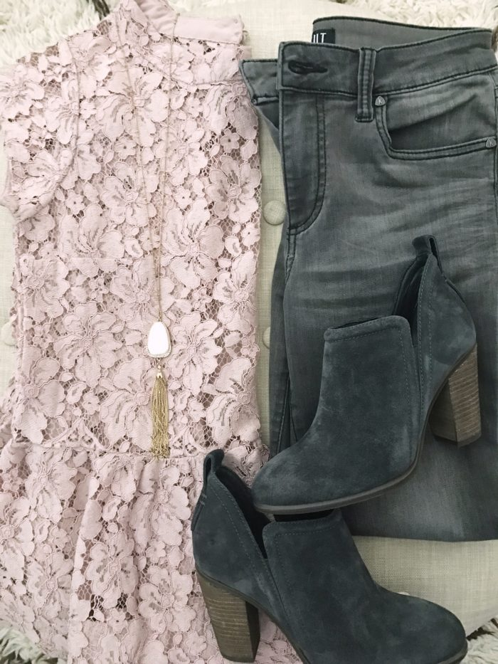 15 Fall Cute & Comfy Fall Outfits, pink lace blouse with grey jeans and grey booties