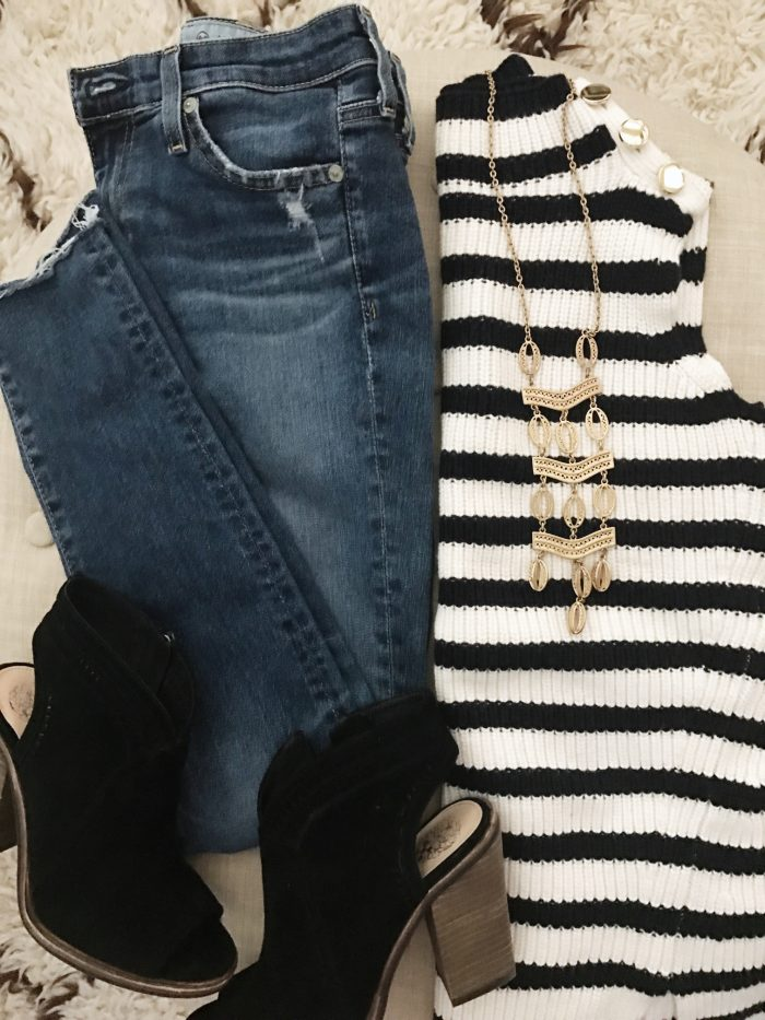 15 Fall Cute & Comfy Fall Outfits, striped sleeveless sweater with jeans and booties