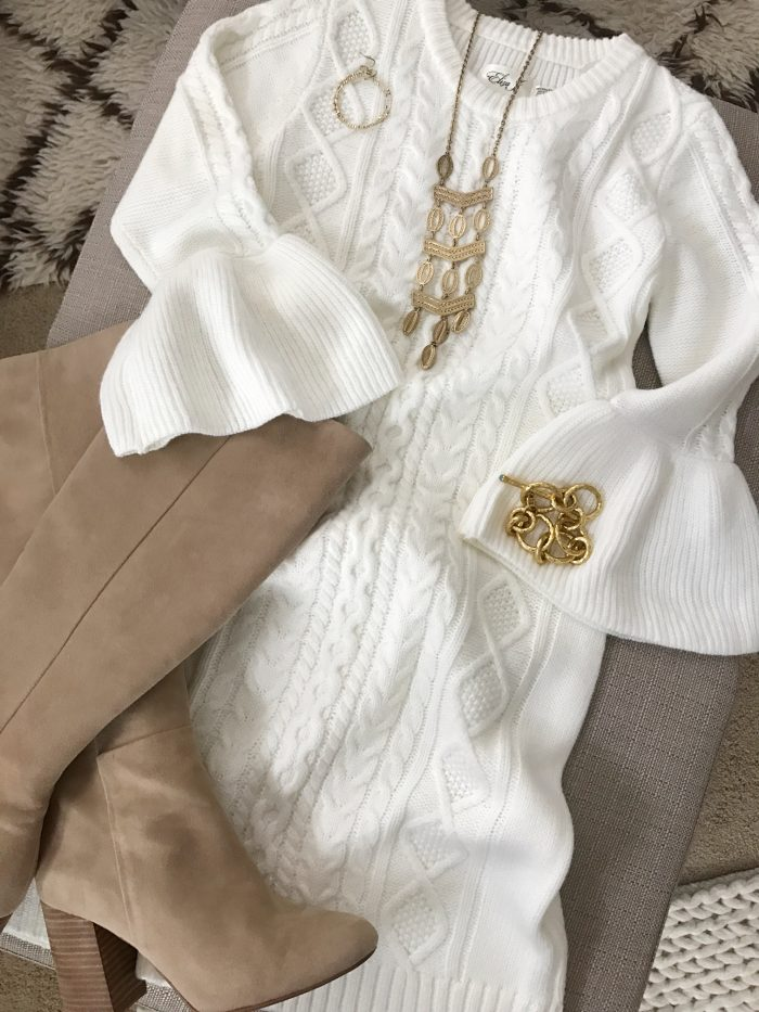 15 Fall Cute & Comfy Fall Outfits- white bell sleeve sweater dress with tall boots #fallfashion #falloutfit