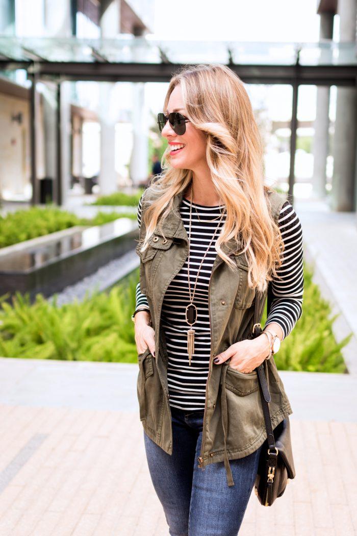 fall fashion inspiration- long sleeve tee, military vest, booties #fallfashion #fashioninspo