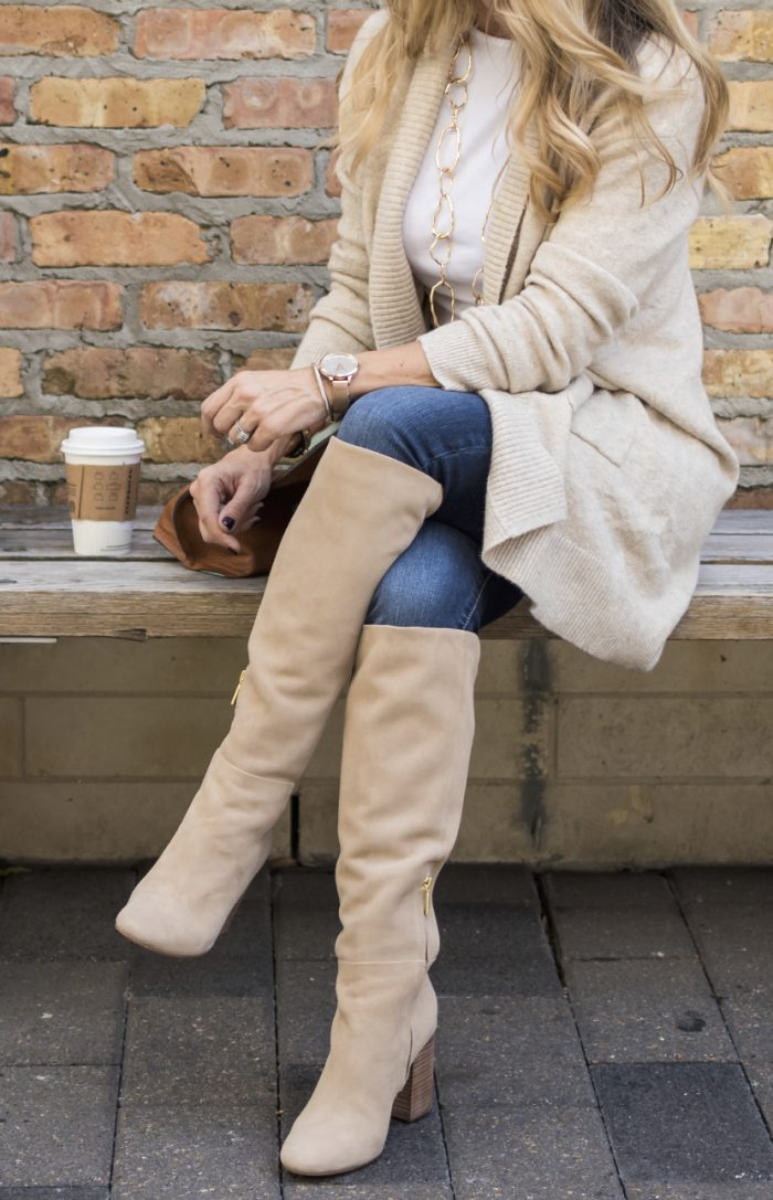 Fall fashion inspiration - knee boots with cozy cardigan and jeans #fallfashion #cardigan #kneeboots