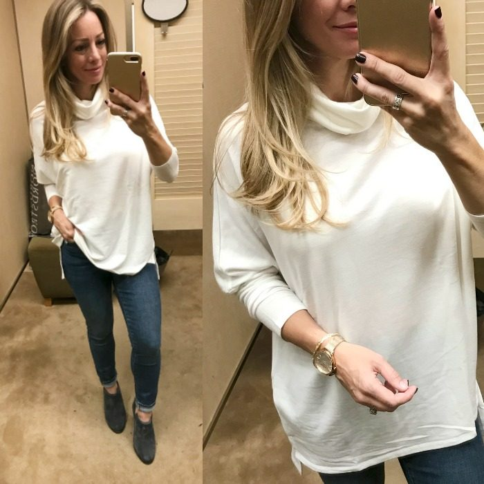 Fall Fashion - dressing room try on - cowl neck tunic