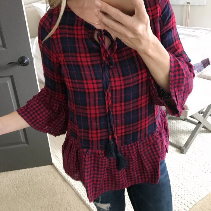 Fall Fashion - plaid peplum top and ripped skinny jeans with booties (1)