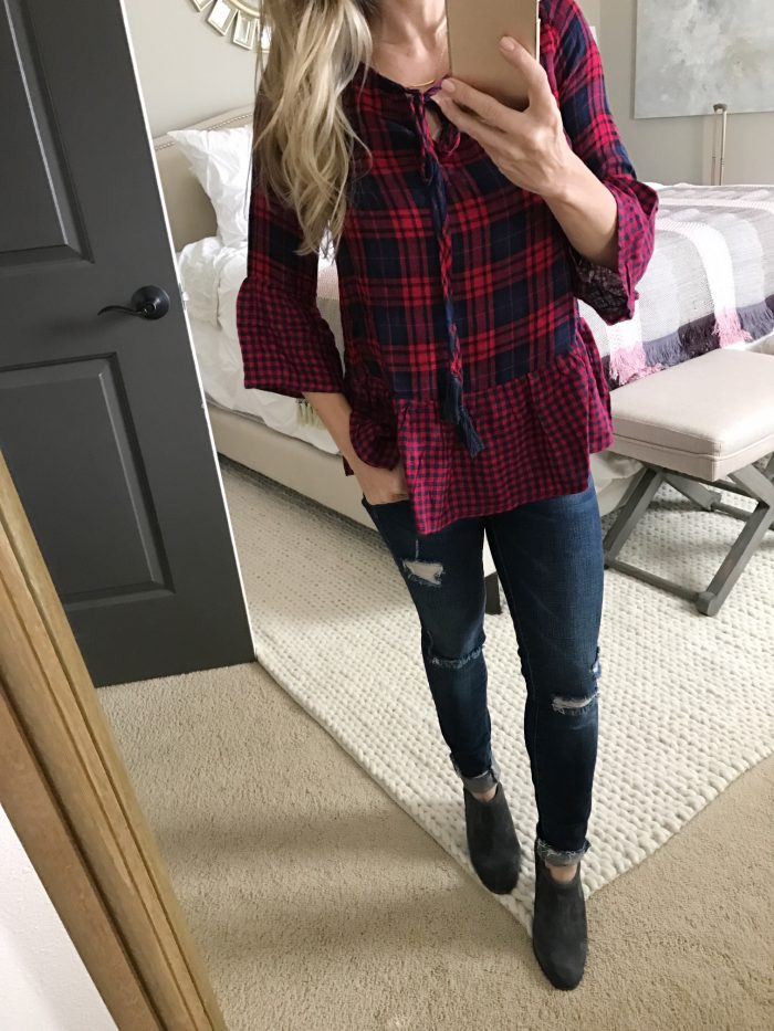 Fall Fashion - plaid peplum top and ripped skinny jeans with booties