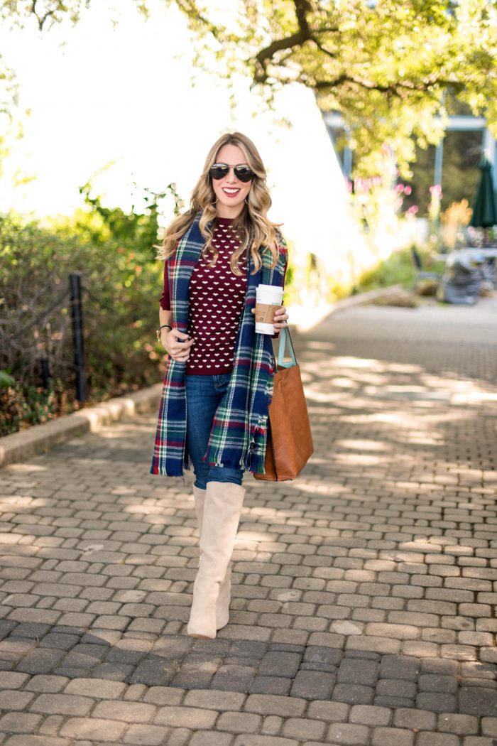 Fall Outfit Inspiration - burgundy sweater, jeans, boots and a plaid scarf #fallfashion