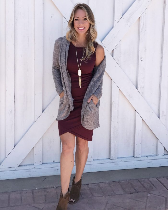 Fall fashion - cozy barefoot dreams cardigan and magic rushed dress with booties