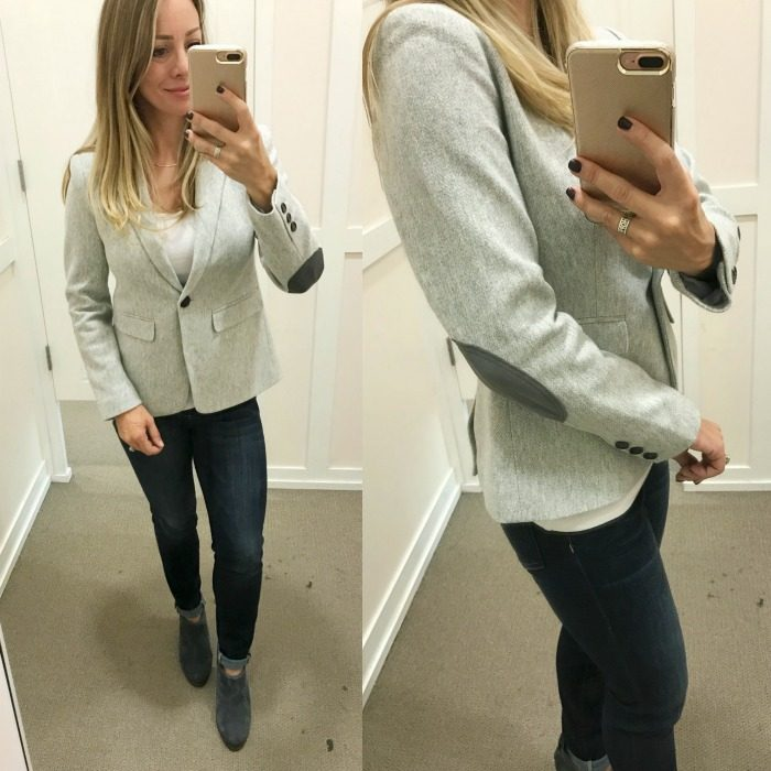 Fall fashion - dressing room try on, patch sleeve blazer