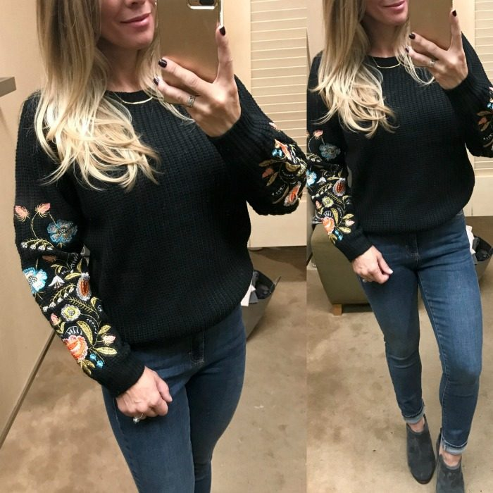 Fall fashion - dressing room try on embroidered sleeve sweater