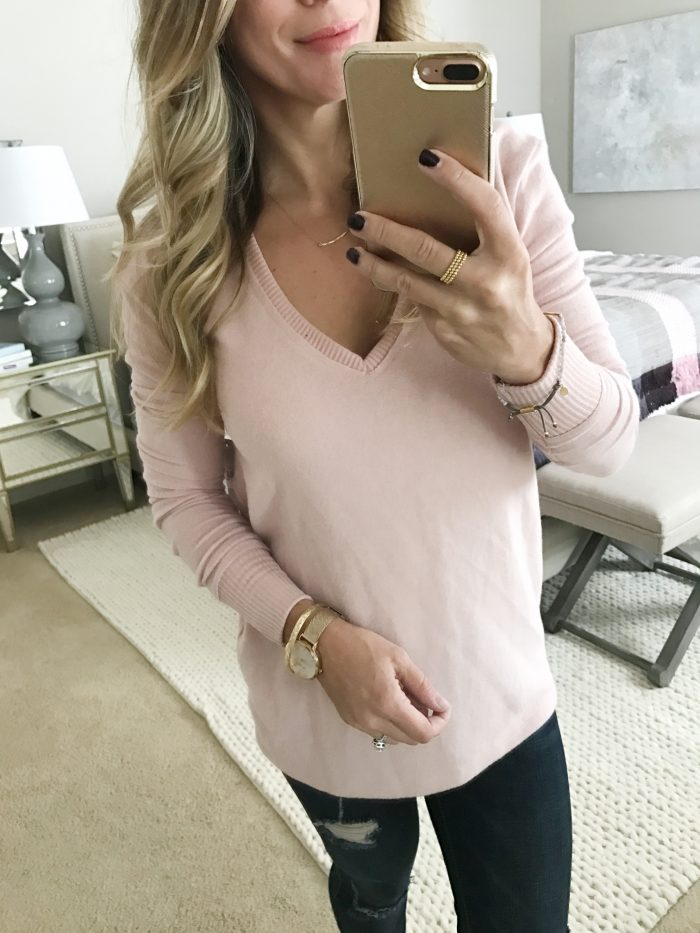 Fall fashion - dressing room try on, pink v-neck sweater
