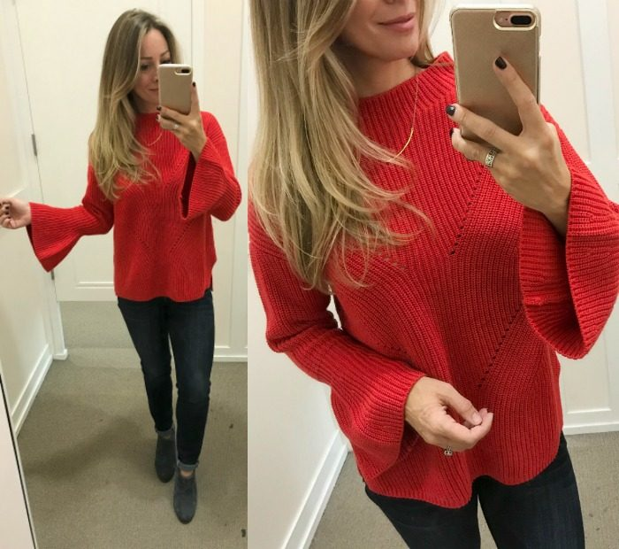 Fall fashion - dressing room try on, red flare sleeve sweater