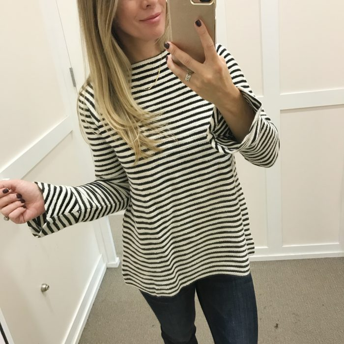 Fall fashion - dressing room try on, striped flare sleeve sweater