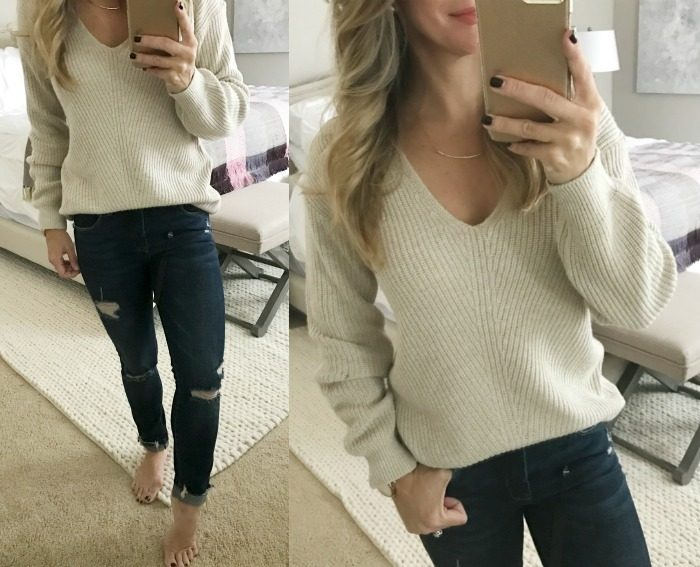 Fall fashion- dressing room try on, v-neck sweater and dark ripped jeans #Fallfashion