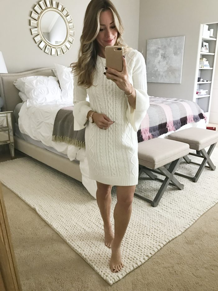 Fall fashion - dressing room try on, white cable knit sweater dress #fallfashion #sweaterdress
