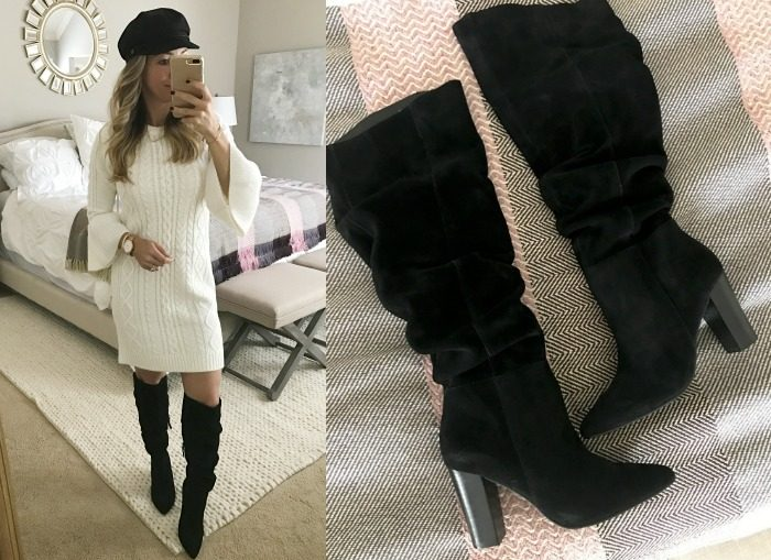 Fall fashion, dressing room try on, white sweater dress with black boots