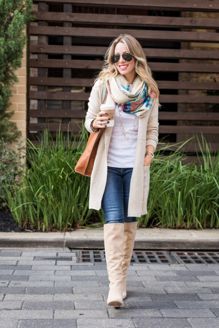 Fall fashion inspiration - knee high boots with jeans and cozy cardigan, plaid scarf, white top #fallfashion #plaid #boots
