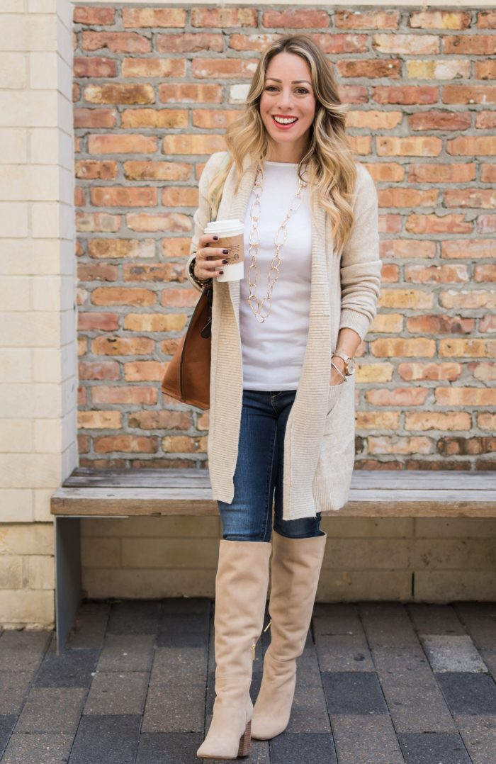 Fall fashion inspiration - knee high boots with jeans and cozy cardigan, plaid scarf, white top