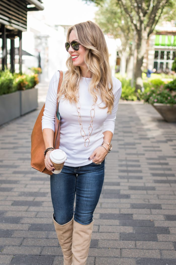 Fall fashion inspiration - knee high boots with jeans and white top #ootd #fall fashion #boots