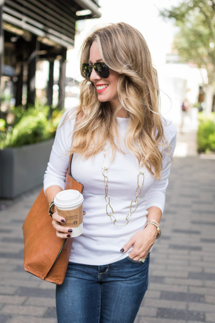 Fall fashion inspiration - knee high boots with jeans and white top