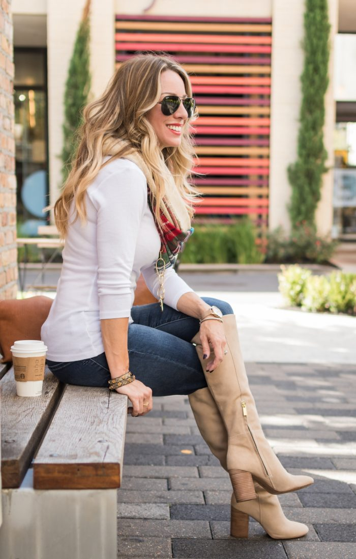Fall fashion inspiration - knee high boots with jeans and cozy cardigan, plaid scarf, white top #fallfashion #ootd #plaid #boots