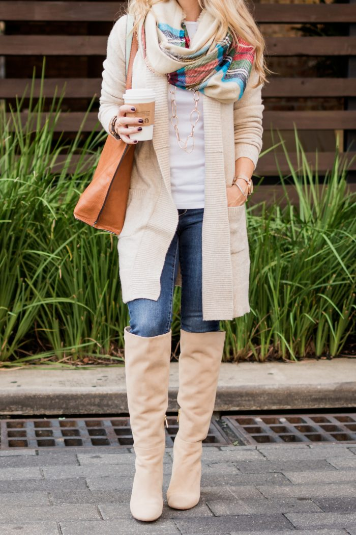 Fall fashion inspiration - knee high boots with jeans and cozy cardigan, plaid scarf, white top #fallfashion #boots #plaid #scarf