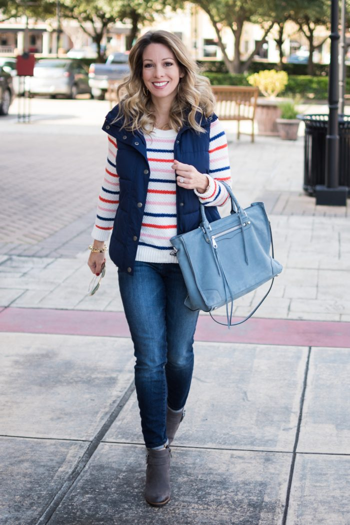 Fall fashion - Old Navy puffer vest (inexpensive!) with sweater, jeans and booties #fallfashion