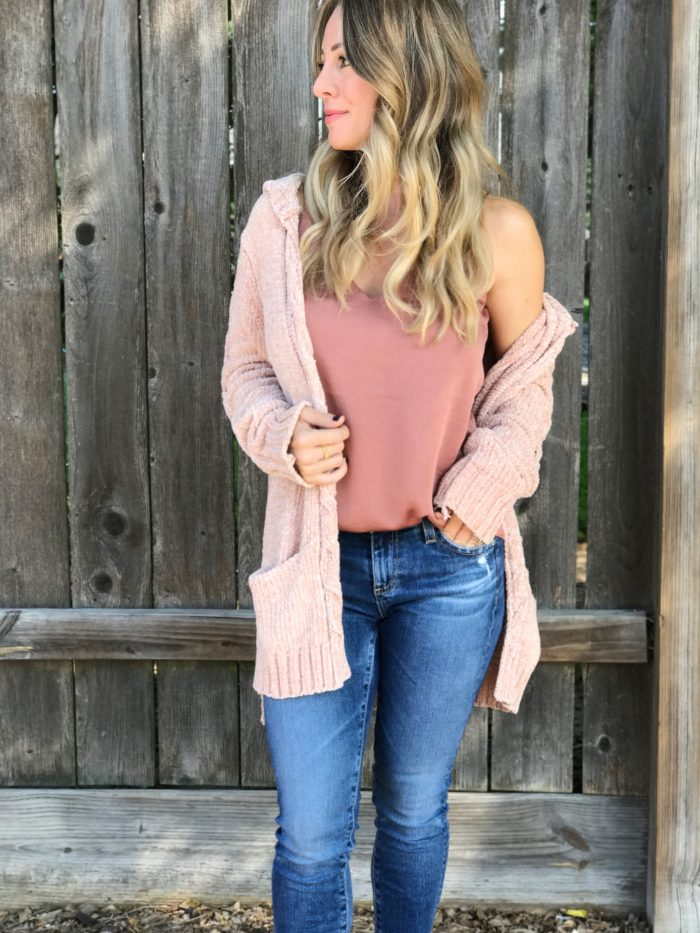 Fall fashion - softest chenille cardigan and cami with jeans